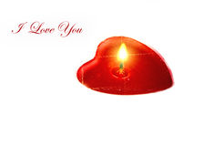 Heart shaped candle with text Royalty Free Stock Images