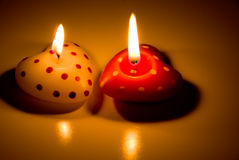 Heart-shaped candles Royalty Free Stock Photography