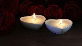 Heart Shaped Candles and Roses. Heart shaped candles burning in front of red roses stock video footage