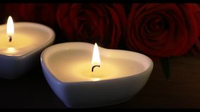 Heart Shaped Candles and Roses Close Up stock video footage
