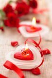Heart shaped candles . Royalty Free Stock Image