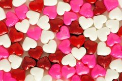Heart shaped candy background Stock Photo