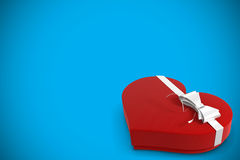 Heart shaped candy box with ribbon Royalty Free Stock Photography