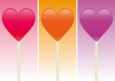 Heart Shaped Candy over different color background. S Royalty Free Stock Photo