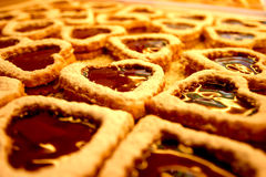 Heart-shaped caramel cookies Royalty Free Stock Photography