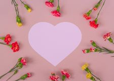 Heart shaped carnation flowers frame royalty free stock photo