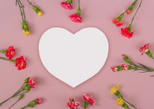 Heart shaped carnation flowers frame royalty free stock photos