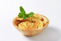 Heart-shaped cheese biscuits Stock Images