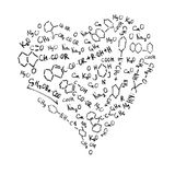 Heart shaped chemical formulas. Royalty Free Stock Photo