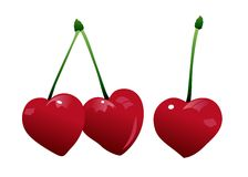 Heart_shaped_cherries Fotografia Stock