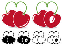 Heart-shaped cherries Stock Photos