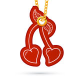 Heart shaped cherries. Label tag hanging on golden. Label tag hanging on golden chain. Red design element  on white. Vector illustration Royalty Free Stock Photo