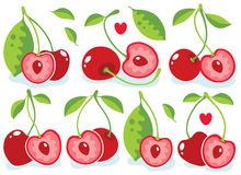 Heart-shaped cherries Stock Photography