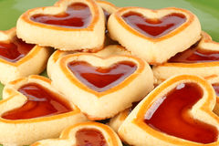 Heart shaped cherry jam cookies Stock Photos