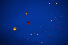 Heart-shaped chinese lantern in the night sky Royalty Free Stock Photos