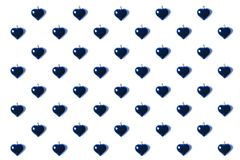 Heart shaped chirstmas toys. Full frame of blue heart shaped chirstmas toys isolated on white Royalty Free Stock Image