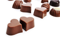 Heart-shaped chocolate bonbons Royalty Free Stock Photos