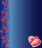 Heart shaped chocolate box on blue background Stock Photos