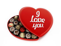 Heart shaped chocolate box with I love you text Royalty Free Stock Photo