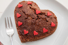 Heart Shaped Chocolate Brownie Royalty Free Stock Photography