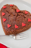 Heart Shaped Chocolate Brownie Stock Image
