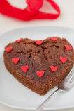 Heart Shaped Chocolate Brownie Stock Photography