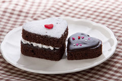Heart shaped chocolate cake royalty free stock image