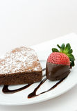 Heart shaped chocolate cake. With freshly dipped strawberry Royalty Free Stock Photos