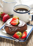 Heart shaped chocolate cake with strawberry Royalty Free Stock Image