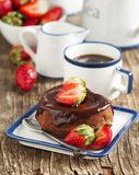 Heart shaped chocolate cake with strawberry Royalty Free Stock Images