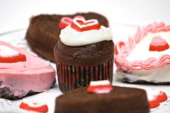 Heart Shaped Chocolate Cakes Royalty Free Stock Photos