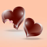 Heart shaped chocolate cakes Royalty Free Stock Photography
