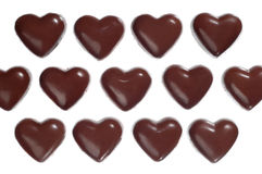 Heart-shaped chocolate candies Stock Images