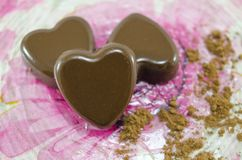 Heart shaped chocolate candies Royalty Free Stock Photography