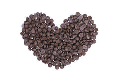 heart shaped chocolate chips isolated on white Royalty Free Stock Photography