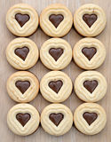 Heart shaped chocolate cookies close up Stock Photography