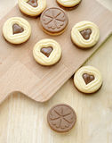 Heart shaped chocolate cookies close up Stock Photo