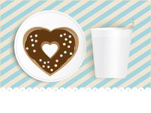 Chocolate doughnut and cup with copyspace Stock Images