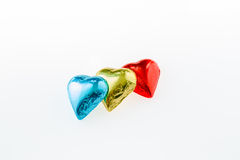 Heart shaped chocolate in foil Royalty Free Stock Image