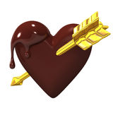 Heart-shaped Chocolate With Golden Arrow. 