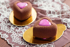 Heart shaped chocolate mousse cakes Royalty Free Stock Photography