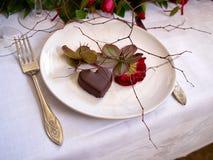 Heart shaped chocolate praline desert for Valentine's Day Stock Photo