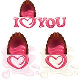 Heart shaped chocolate pralines Royalty Free Stock Image