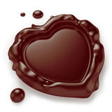 Heart-Shaped Chocolate Seal. Chocolate seal in the shape of a heart  on white background. Computer generated image with clipping path Stock Images