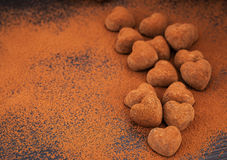 Heart shaped chocolate truffles Stock Photography