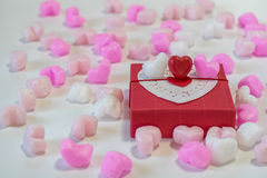 Heart shaped chocolates in a gift box Royalty Free Stock Photography