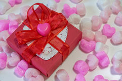 Heart shaped chocolates in a gift box Stock Images