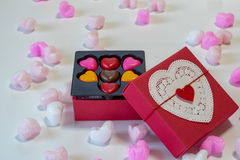 Heart shaped chocolates in a gift box Royalty Free Stock Image