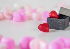 Heart shaped chocolates in a gift box Royalty Free Stock Photo