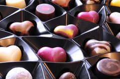 Heart shaped chocolates, luxury candy selection close up Royalty Free Stock Photos